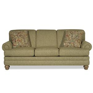 Traditional Sofa with Rolled Arms and Turned Legs
