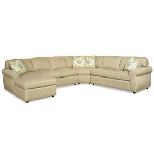 Transitional Four Piece Sectional Sofa with Rolled Arms