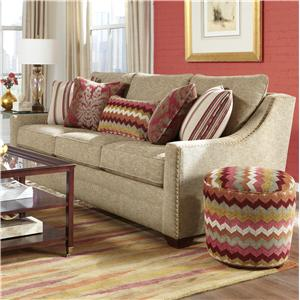 Transitional Sofa with Oversized Nailheads and Toss Pillows
