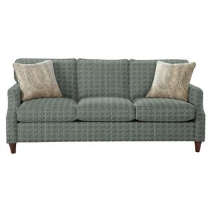 Transitional Sofa with Flare Tapered Arms and Vintage Tack Nailheads
