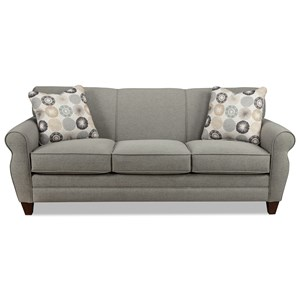 Transitional Stationary Sofa with Rolled Arms and Tapered Wood Feet