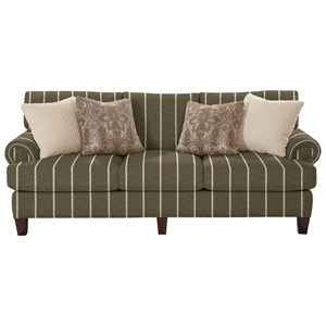 Transitional Sofa with Rolled Panel Arms and Vintage Tack Nailheads