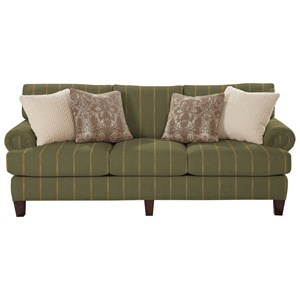 Transitional Sofa with Rolled Panel Arms
