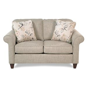 Transitional Loveseat w/ Sock-Rolled Arms