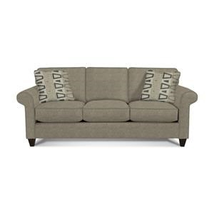 Transitional Sofa with Sock-Rolled Arms