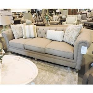 Large 99 Inch Sofa with Vintage Tack Nailheads