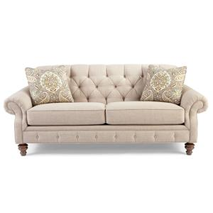 Traditional Button-Tufted Sofa with Wide Flared Arms