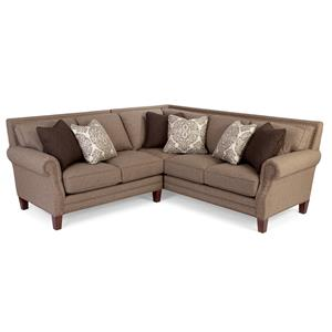 Two Piece Sectional Sofa with Rolled Arms and Light Brass Nailheads