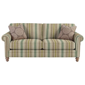 Traditional Sofa with Rolled Arms and Vintage Tack Nailheads
