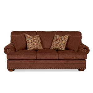 Sofa with Exposed Wooden Legs and Nail Head Accent