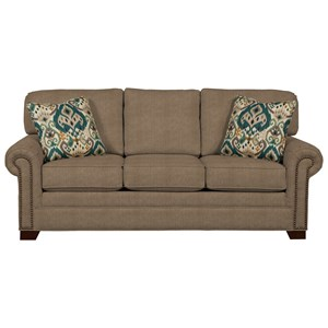 Transitional Sofa with Large Rolled Arms and Brass Nailheads