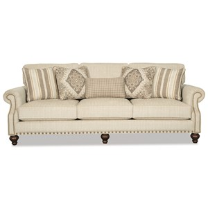 Traditional Sofa with Two Sizes of Brass Nailheads