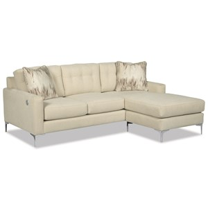 Stationary Tufted Sofa with Chaise Lounge and USB Charging Port