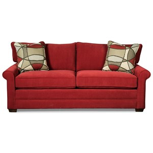Casual Sofa with Rolled Arms and Toss Pillows