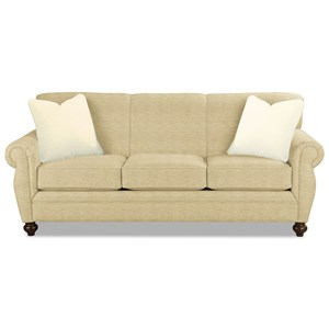 Traditional Memory Foam Sleeper Sofa with Rolled Arms and Rolled Back