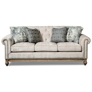 Button Tufted Sofa with Distressed Wood Base and Pewter Nails