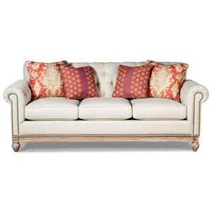 Button Tufted Sofa with Distressed Wood Base and Light Brass Nails
