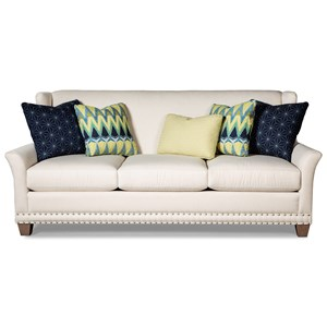 Transitional Wing Back Sofa with Pewter Nailheads