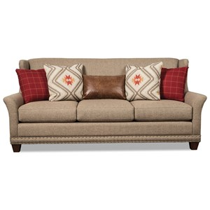Transitional Wing Back Sofa with Brass Nailheads