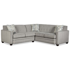Contemporary Two Piece Tufted Sectional Sofa with RAF Return Sofa