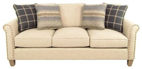 Transitional Sofa with Brass Nails