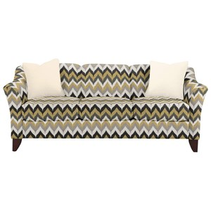 Stationary Sofa with Flared Arms