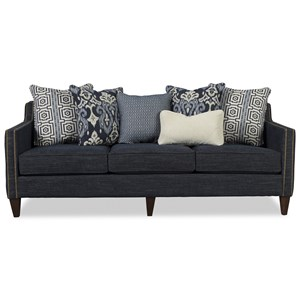 Transitional Sofa with Nailhead Border and Six Toss Pillows