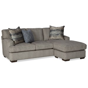 Contemporary Chaise Sofa with Wide Rounded Track Arms
