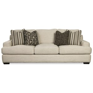 Contemporary Sofa with Low Arms and Four Toss Pillows