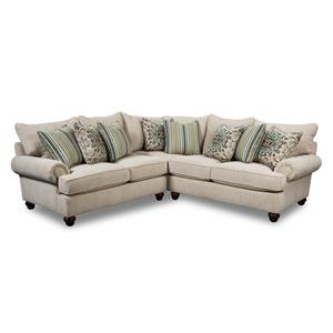 Two Piece Sectional Sofa with Turned Wood Feet