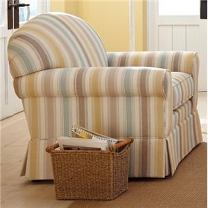 Casual Upholstered Chair with Arched Back and Skirt