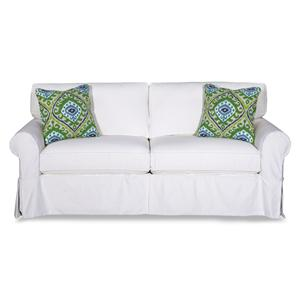 Cottage Style Slipcover Sofa with Rolled Arms and Kick Pleat Skirt