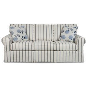 Casual Slipcover Sleeper Sofa with Queen Innerspring Mattress