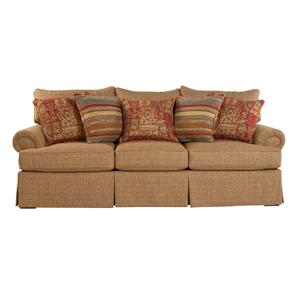 Loose Pillow Back Sofa with Rolled Arms and Skirt