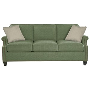 Transitional Sofa with Clipped Corner Shape and Nailhead Trim