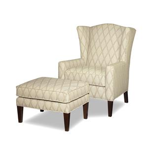 Craftmaster Accent Chairs Wing Chair and Ottoman