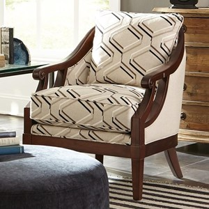 Traditional Wood-Framed Accent Chair with Scroll Arms