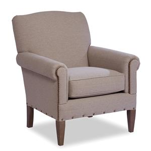 Camelback Accent Chair with Two Patterns of Nailhead