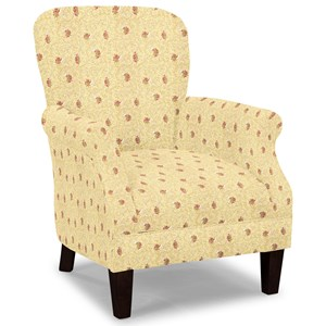 Tight Back Accent Chair with Tapered Exposed Wood Legs