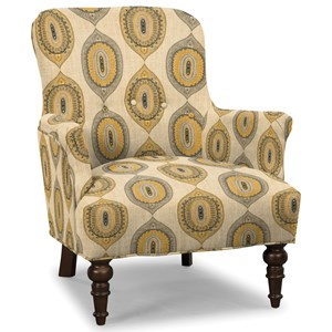Traditional Accent Chair with Turned Legs and Buttons