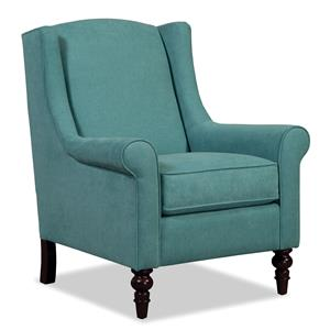 Wing Back Chair with Traditional Turned Legs