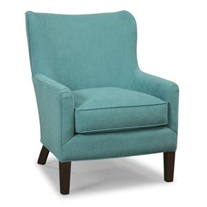 Accent Chair with Pleated Arms and Rounded Wing Back