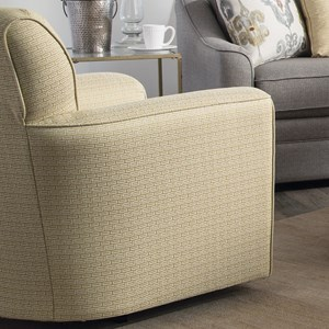 Contemporary Upholstered Swivel Chair with Flared Arms and Welt Cord Trim