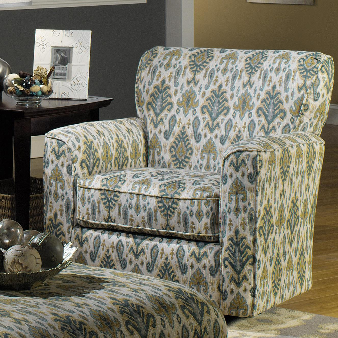 Accent Chairs Upholstered Swivel Chair with Flared Arms by Craftmaster at Bullard Furniture