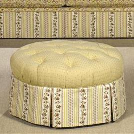 Craftmaster Accent Ottomans Tufted Skirted Ottoman
