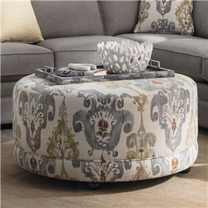 Round Contemporary Ottoman with Casters