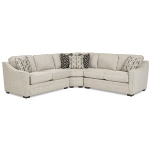 Customizable 3-Piece Sectional with Pie Wedge