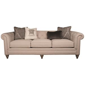 Classic Modern Long Sofa with Decorative Pillows and Nailhead Trim