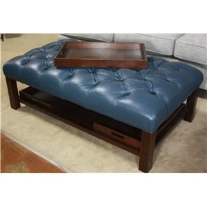 Large Rectangular Tufted Leather Ottoman with 3 Removable Trays