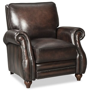 Traditional Leather High Leg Recliner with Turned Wood Feet